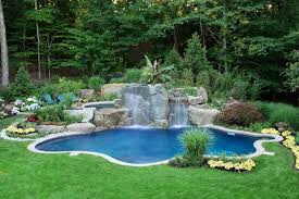 Waterfall In Backyard Natural Backyard Swimming Pool Waterfall Design Bergen County Nj