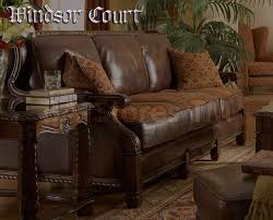 Leather And Upholstered Sofa Creative Of Fabric Leather Sofa Michael Aminiquot Wood Trim