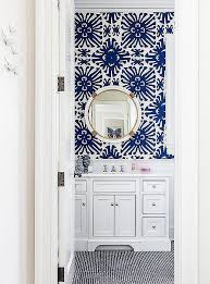 Wallpaper Ideas For Small Bathroom Bold Blue And White Bathroom With Coordinating Colors Of