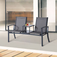 Patio Furniture Mesh Fabric Two Person Outdoor Mesh Fabric Patio Double Glider Chair Center