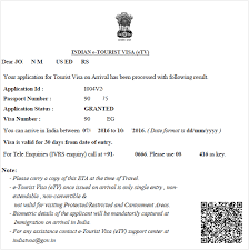 india visa approval letter the evisa india visa tourist visa