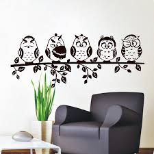 popular wall stickers owl buy cheap wall stickers owl lots from five coffee baby owl wall decal pvc waterproof hollow out home decor living room wall sticker
