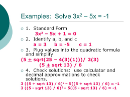 discriminant rules we will use these rules when solving quadratic equations in the complex number