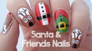 3 in 1 santa reindeer u0026 elf nail art tutorial merry christmas