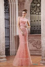 Peach Boat Neck Cap Sleeve Tulle Long Modest Evening Dress