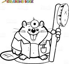 beaver dentist holding a toothbrush coloring book page stock