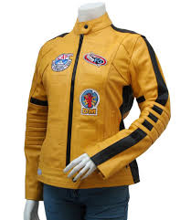 womens leather motorcycle jacket yellow kill bill jacket movie costumes u2013 leather jacket showroom
