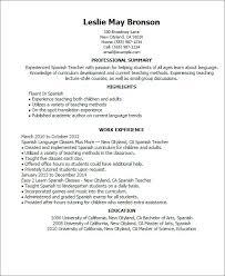 spanish resume example spanish teacher resume samples visualcv
