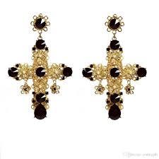 Chandelier Beaded Earrings White Bead 2018 Vintage Baroque Filigree Byzantine Black Cross Earrings