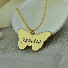 baptism necklace engraved butterfly pendant necklace gold color name