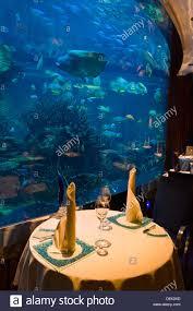 the underwater themed al mahara restaurant in the burj al arab