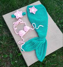 handmade crochet mermaid tail newborn mermaid set