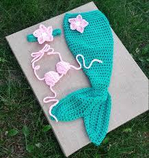 handmade crochet mermaid tail newborn mermaid set