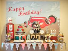 Birthday Decoration Ideas For Boy Kara U0027s Party Ideas Vintage Race Car Cars Boy Racing 3rd Birthday