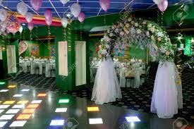 Wedding Hall Decorations Wedding Party Hall Decoration With White Veil Arc Stock Photo
