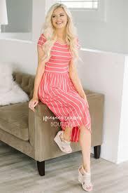 cute coral white stripes pocket modest dress best online modest