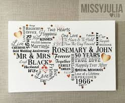 50 year anniversary gift golden wedding anniversary gift 50 years personalised gold plaque