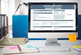 social security help desk social security benefit form application concept stock photo