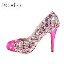 wedding shoes jeweled heels chs150 dhl custom handmade fuchsia pink jeweled dress