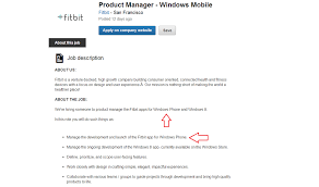 Product Development Manager Job Description Fitbit Is Officially Hiring A Product Manager For A Windows Phone