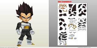 chibi papercraft pdo file template for dragonball chibi vegeta