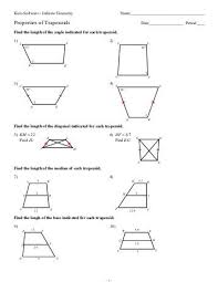 kite and trapezoid properties worksheet the best and most