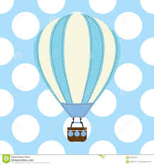 baby shower card with cute air balloon on blue background