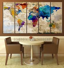 5 piece retro world map canvas print for home and office decor