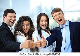 equipe bureau bureau business haut pouces équipe heureux photos de stock