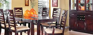 furniture natural brown wood dining table set plus cabinet by