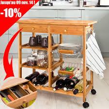 meuble de rangement cuisine a roulettes sobuy fkw06 n desserte à roulettes en bambou meuble rangement