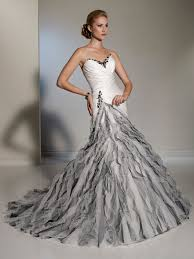 silver wedding dresses white silver fluted skirt wedding dress