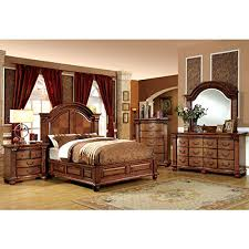 French Style Bedroom Set Bellagrand English Style Antique Tobacco Oak Finish Eastern King