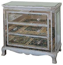 Mirrored Dressers And Nightstands Three Drawer French Mirrored Chest Farmhouse Dressers By
