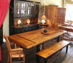 two tone barn wood hutch table and bench tie your dining room