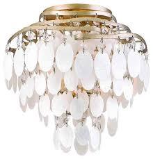 shell ceiling light corbett dolce semi flush mount light chagne leaf style