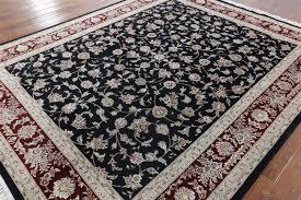Black And Beige Area Rugs 8 U0027x10 U0027 Black Herati Design Floral Wool U0026 Silk Tabriz Hand Knotted