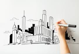 close up of hand drawing city on white board stock illustration