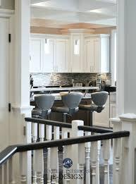 virtual decorating white kitchen gray stool black handrail on white stairs kylie m