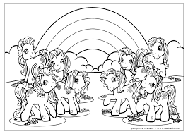 8 Ponies In Front Of A Rainbow My Little Pony Coloring Pages Pony Coloring Pages