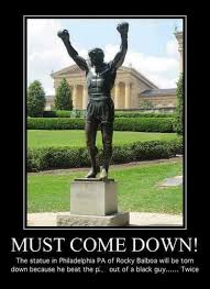 Rocky Meme - a lesson in fake news the faux call for removal of the rocky