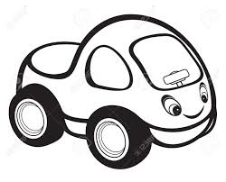cartoon car drawing cute kids race car black and white royalty free cliparts vectors