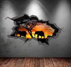 elephant safari wall decal cracked 3d wall sticker mural decal