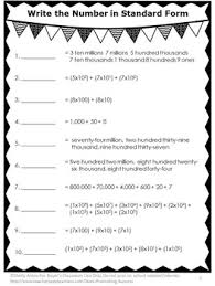 free place value standard form worksheet for 4th 5th grade