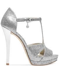 michael kors michael diana t strap platform sandals in metallic lyst