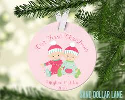 First Christmas Personalized Ornaments - personalized ornament baby twins first christmas gifts