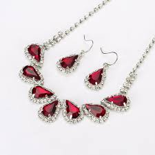 red crystal necklace set images Red crystal party necklace set for women jpg
