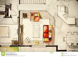 Floor Plan Of House Creative Illustration Of House Living Room Stock Illustration