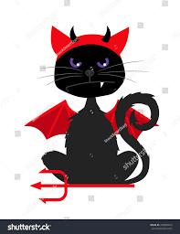 grumpy halloween cat devil bat wings stock vector 478480633