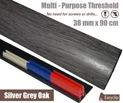 Laminate Floor To Carpet Threshold Silver Grey Adhesive Laminate Door Threshold Strip 38mm X 90cm